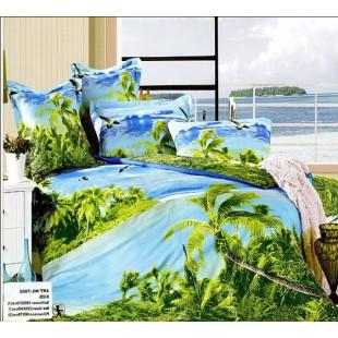 Постельное белье - Остров с пальмами в океане 3D сатин