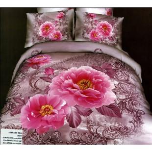 Постельное белье - Розовые розы 3D сатин лилового цвета