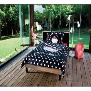 Детское постельное белье - Hello Kitty белый горох на черном хлопок