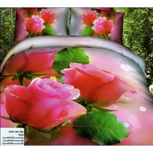Постельное белье - Три розовые розочки 3D сатин нежный фон