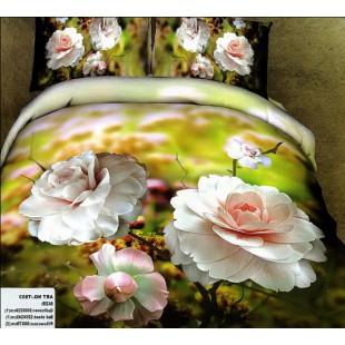 Постельное белье - Светлые чайные розы 3D сатин