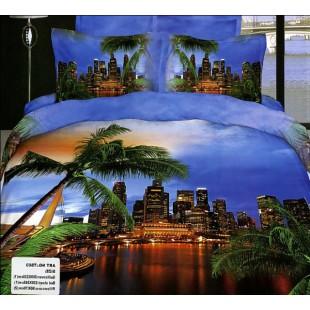 Постельное белье - Вечерний Тайланд с пальмами 3D сатин