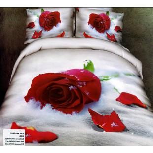 Постельное белье - Красная роза на снегу 3D сатин