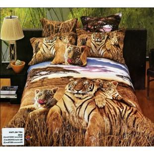 Постельное белье - Тигрица с тигрятами в саванне 3D сатин
