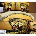 Постельное белье в желтых красках с рычащим хищников гепардом