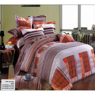 Качественный оранжево-серый комплект постельного из сатина