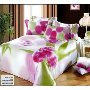 Постельное белье - Малиновые тюльпаны 3D сатин светло-розового цвета