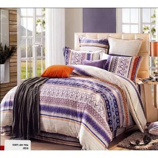 Модное постельное белье из сатина бежево-фиолетовой гаммы