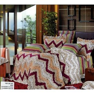 Оригинальное постельное из сатина с разноцветными зигзагами и полосками