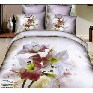 Бледно-розовое постельное белье с цветами на стебле