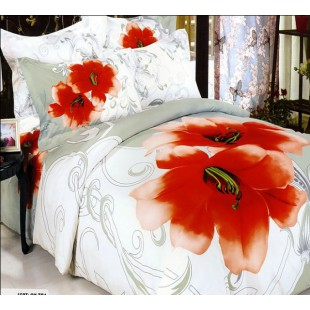 Бело-серый комплект белья с красным цветком
