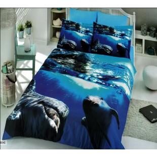 Постельное белье синего цвета с дельфинами бамбук