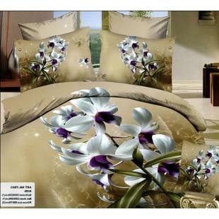 Молочно-коричневый комплект белья с белыми цветами