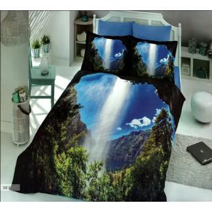 Постельное белье - Горное ущелье с водопадом 3D digital