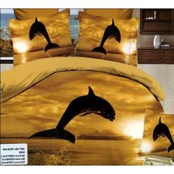 3D постельное белье с дельфином в лучах заката