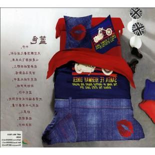 Красное мотопостельное белье с джинсами и отпечатком губ