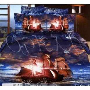 Постельное белье с кораблем с парусами на закате в море