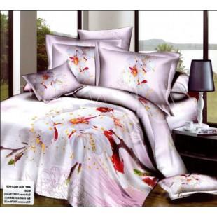 Постельное белье – цветы яблони сатин нежно-розового цвета