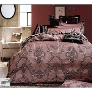 Постельное белье из жаккарда коричнево-розовой гаммы с серыми узорами