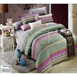 Малахитовое постельное белье с сиреневым декором из полос