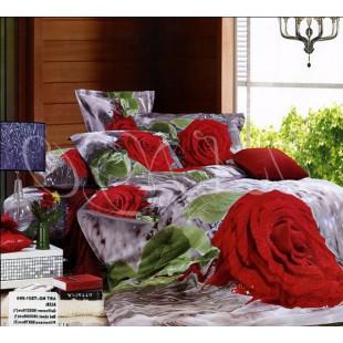 Постельное белье – Бархатные красные розы 3D сатин