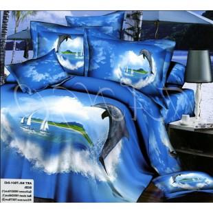 3D сатиновый комплект синего цвета с дельфином и сердцем