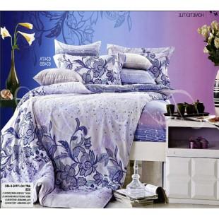 КПБ сиренево-голубое с цветочным принтом