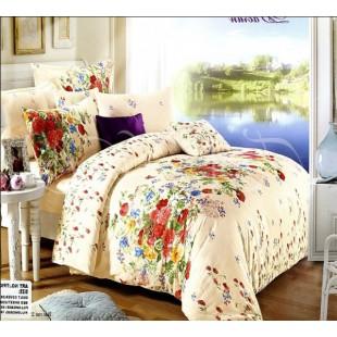 Нежно-персиковое постельное белье с цветочной расцветкой
