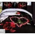 Черное с белым постельное белье с сердцем из лепестков роз