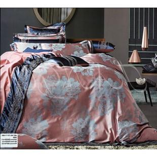 Жаккардовое постельное персикового цвета со стальными цветами