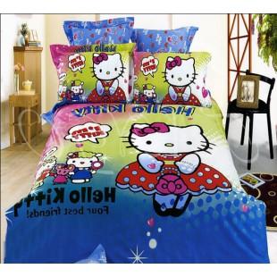 Постельное белье Евро сатин с Hello Kitty в платье в горошек