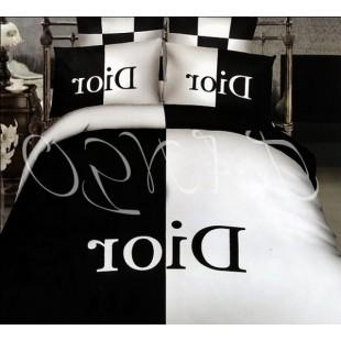Постельное белье Dior черно-белое из сатина
