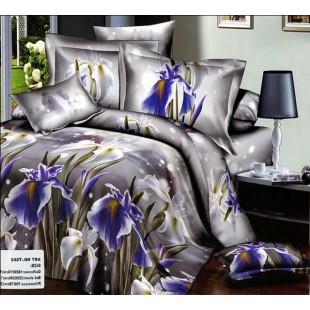Дымчато-серое постельное белье с фиолетовыми ирисами