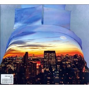 Ночное постельное белье с луной и небоскребами