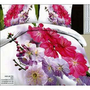 Позитивное постельное белье с фиолетовыми, розовыми и малиновыми цветами