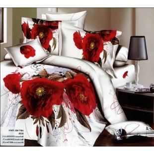 Белое постельное белье с красными чайными розами