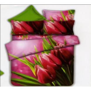 Постельное белье розовое с тюльпанами 8 марта
