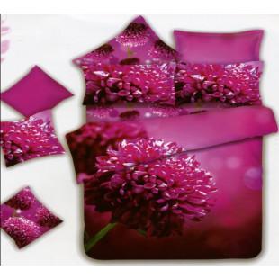 Красивое малиновое постельное белье с хризантемой