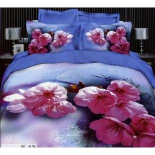 Постельное белье голубое с веточкой розовой сакуры
