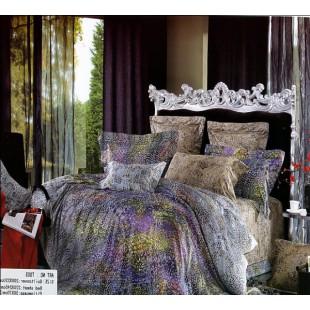 Коричневое постельное из сатина с фиолетовыми разводами