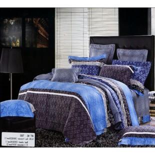 Абстрактное постельное белье цвета индиго с голубым