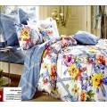 Уютное постельное белье с бантиками и цветами в бело-голубом цвете