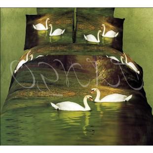 Постельное белье бутылочного цвета с белыми лебедями
