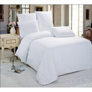 Белое постельное белье однотонное из сатина премиум
