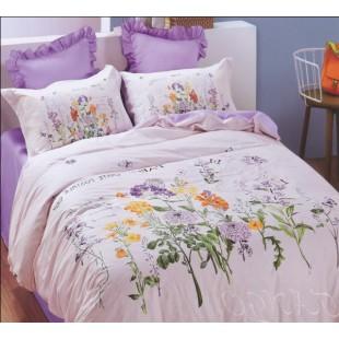 Лавандовое постельное белье в стиле прованс из сатина
