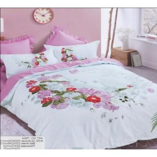 Бело-розовое постельное белье в стиле романтик