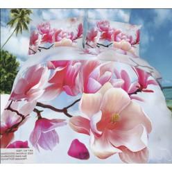 Цветочное белье из хлопка премиум с розовой магнолией