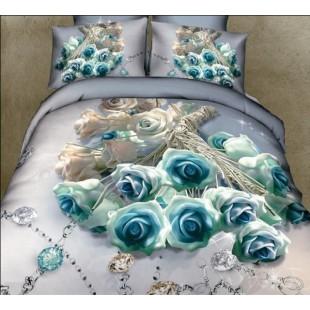 Постельное белье с голубыми розами и драгоценностями