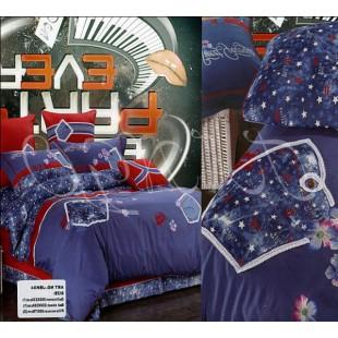 Постельное белье синее с красным из сатина с аппликацией
