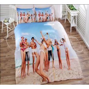 Постельное белье с компанией друзей на пляже 3D бамбук